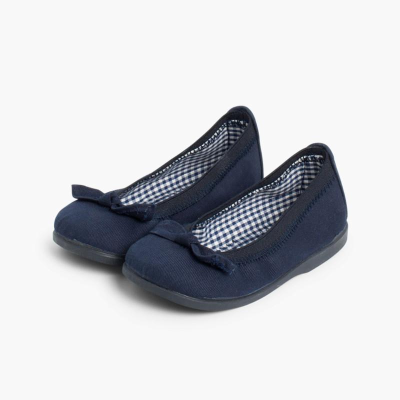 Ballerine scarpe primi passi elastico tela fiocco