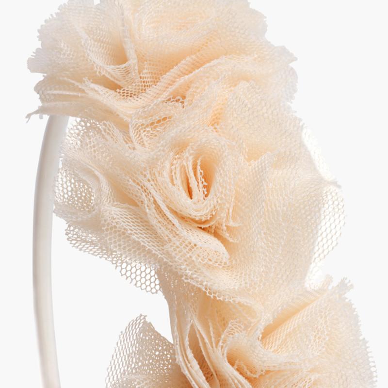 Cerchietto fino con fiori di tulle