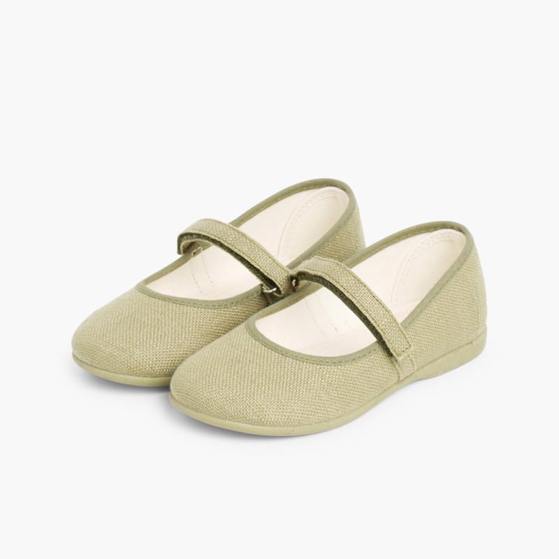 Scarpe Bambina di Lino Velcro fino