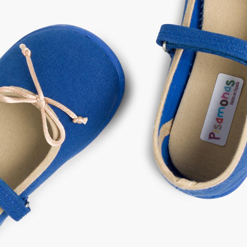 Scarpe cinturino bambina tela velcro fino con fiocco