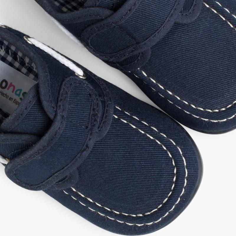Scarpe da Barca Tela Chiusura Velcro