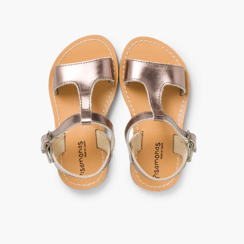 Sandali pelle liscia metallizzata