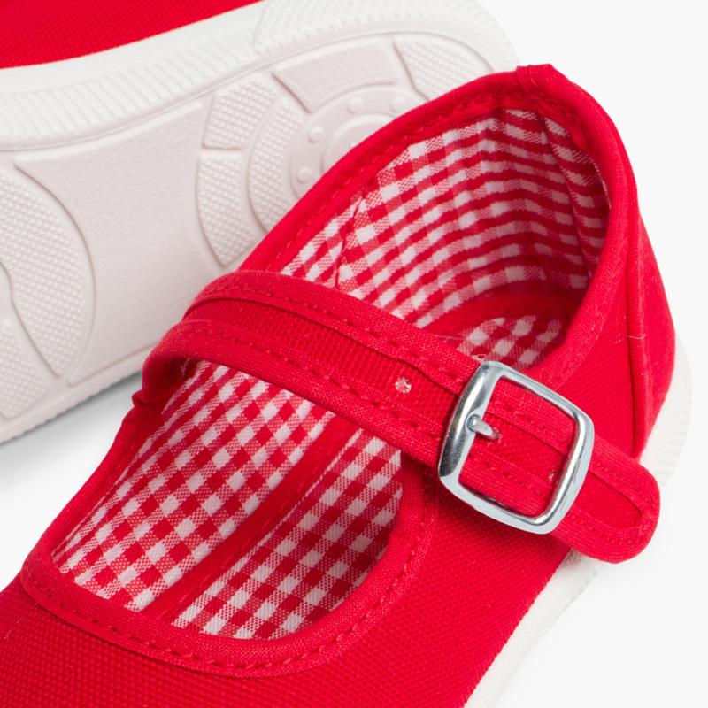 Sneakers Tela Bambina con Fibbia e Punta di Gomma