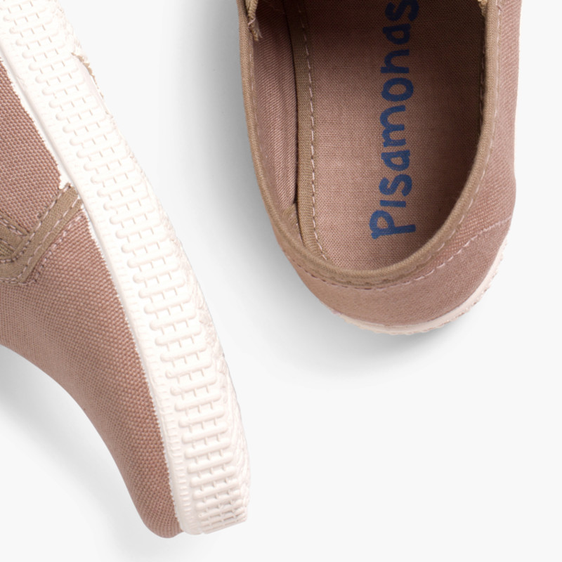Scarpe Tela con Elastico Suola di gomma bianca