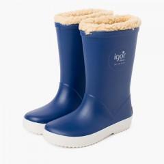 Stivali da pioggia interni in shearling per bambini Blu jeans
