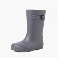 Stivali di gomma con fibbia splash di colori polverosi Grigio