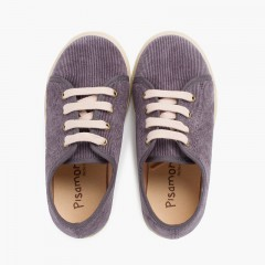 Sneakers in velluto a coste con suola larga Grigio