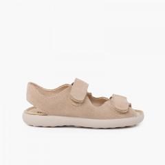 Sandali in crosta di cuoio con fasce frontali aderenti Beige