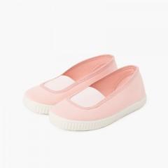 Ballerine elastico tela eco e suola tipo sneaker Rosa