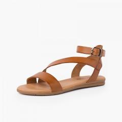 Sandalo in pelle per bambina e donna cinturino con fibbia Cuoio