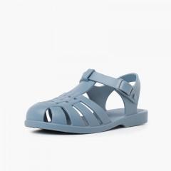 Sandali per bambini con chiusura a fibbia in colori polverosi Azzurro