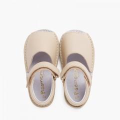 Sandali Minorchine pelle triscia aderente bambino  Beige
