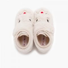 Pantofole coniglietto in morbida pelliccia Ecru