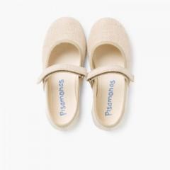 Scarpe Bambina di Lino Velcro fino Sabbia