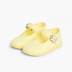 Scarpe Ballerine cinturino Bambina Tela Fibbia Giallo limone