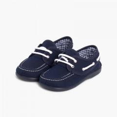 Scarpe da barca tela lacci bambino Blu