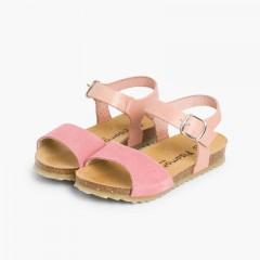 Sandali nappa e camoscio chiusura fibbia Rosa