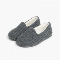 Pantofole casa bambini Lana  Grigio