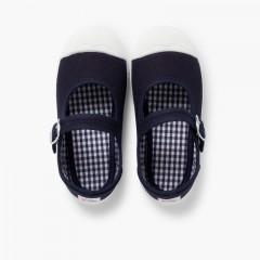 Sneakers Tela Bambina con Fibbia e Punta di Gomma Blu