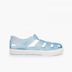 Sandali ragnetti con chiusura a strappo tipo scarpe da tennis Celeste