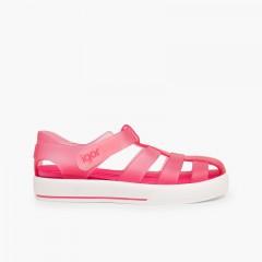 Sandali ragnetti con chiusura a strappo tipo scarpe da tennis Fucsia
