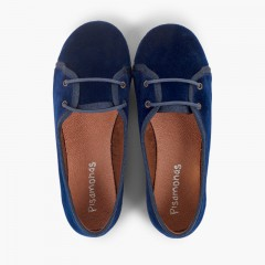 Scarpe blucher bambina velluto modello salon Blu
