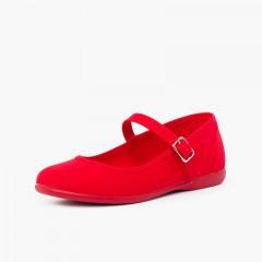 Scarpe con cinturino tela chiusura fibbia Rosso