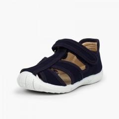 Sandali T-bar chiusura a strappo bambino punta rinforzata  Blu