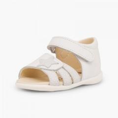 Sandali pelle primi passi bambina chiusura a strappo e stella Bianco