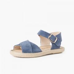 Sandalo Scamosciato Strisce Incrociati e Suola in Iuta Azzurro