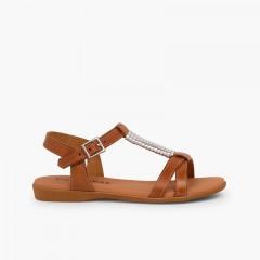 Sandali soletta imbottita e decorazione argentata Cuoio