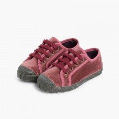 Scarpe velluto con lacci Rosa