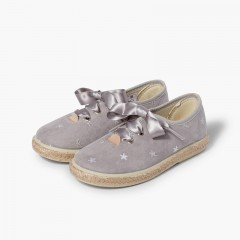 Sneakers ricamate stelle lacci raso Grigio