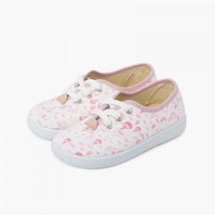Sneakers Lacci Bambini Tela Palloncini Rosa