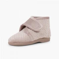 Pantofole per casa stivali brillanti Beige