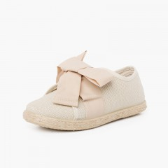 Sneakers Lino con Fiocco e Fascia in Iuta Beige