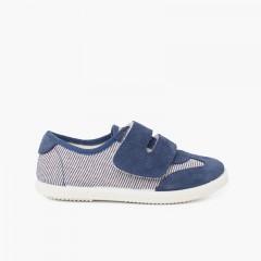 Sneakers a Righe e Scamosciati Doppio Chiusura a Strappo Blu