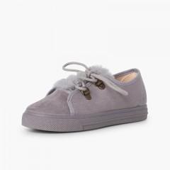Sneakers da bambina con suola larga e pelliccia Grigio