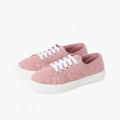 Sneakers in Maglia Organica Rosa Antico
