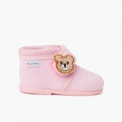 Pantofole Bottino in Velluto a Coste Bambini Orso Rosa