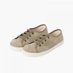 Sneakers vegane per bambini Soletta Antibatterico   Verde militare