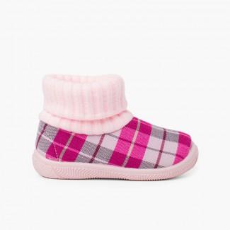 Stivaletti con collo a calza in lana Rosa