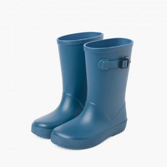 Stivali di gomma con fibbia splash di colori polverosi Azzurro