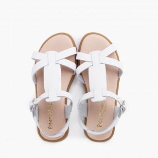 Sandali da bambina in pelle con cinturini di chiusura con fibbia Bianco