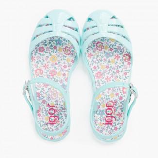 Sandali ragazza fibbia fiori vegetali Acquamarina