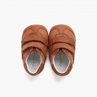 Scarpe neonato sportive con chiusure aderenti Cammello