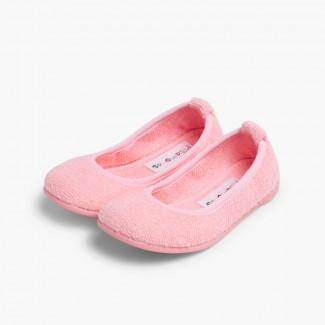 Pantofole Casa Bambina Spugna Ballerine Rosa