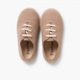 Scarpe lacci scamosciate e iuta bambini Sabbia