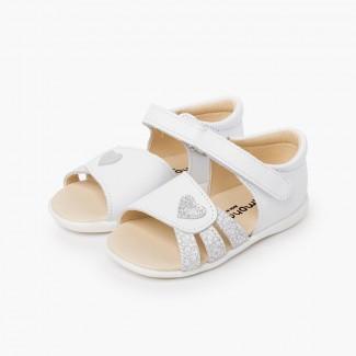Sandali bambina primi passi a cuore Bianco