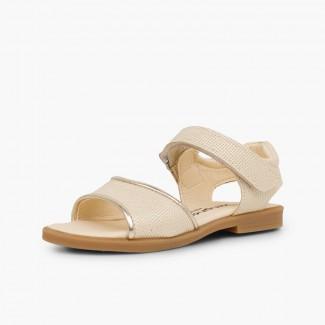 Sandali pelle brillante bambina velcro Beige